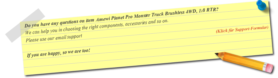 Fragen zu Amewi Planet Pro Monster Truck Brushless 4WD, 1:8 RTR